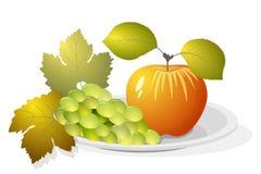 Trauben und Apfel Stockfotos