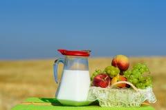 Trauben und Pfirsiche auf dem wei?en Korb des Strohs im Freien auf dem gelben Weizenfeldhintergrund lizenzfreies stockbild