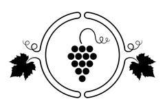 Traubendesign element_Round Weintraube mit Blättern und curli Stockfoto