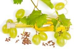 Traubenkernöl und frische Früchte Stockfotos