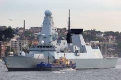 Trauende D32 Art HMS 45 Verwegen-klasseluftabwehrzerst?rer des Marine in Sydney Harbor stockbild
