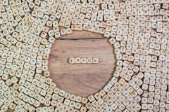 Traum, German text for Dream, word in letters on cube dices on table stock photography