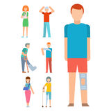 Trauma accident fracture human body safety vector people silhouette cartoon flat style illustration. Royalty Free Stock Photography