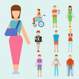 Trauma accident fracture human body safety vector people silhouette cartoon flat style illustration. Royalty Free Stock Images