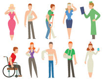 Trauma accident and  human body safety vector people silhouette Stock Photography