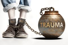 Trauma can be a big weight and a burden with negative influence - Trauma role and impact symbolized by a heavy prisoner`s weight