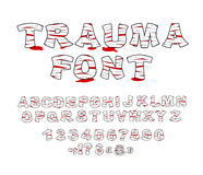 Trauma font. Crippled letters wrapped medical bandages. Traumati Stock Images
