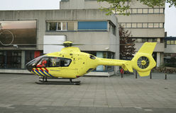 Trauma Helicopter. About to take off on a square in the city royalty free stock images
