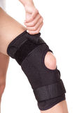 Trauma of knee in brace. Royalty Free Stock Photography
