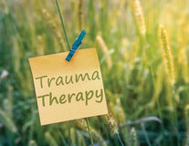 Trauma Therapy. On sticky note in a green grass field