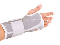 Trauma of wrist in brace. Isolated Stock Photography