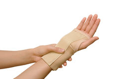 Trauma of wrist with brace Stock Image