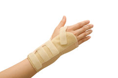 Trauma of wrist with brace Royalty Free Stock Photo