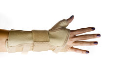 Trauma of wrist with brace ,wrist support Royalty Free Stock Image