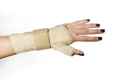 Trauma of wrist with brace ,wrist support Stock Image