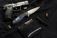 Traumatic pistol and cartridges. Weapons for self-defense royalty free stock photography