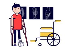 Traumatology. A boy with a broken leg on crutches and with a wheelchair. X-rays. Vector illustration. Isolated on white background. Vector illustration stock illustration