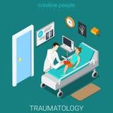 Traumatology hospital ward interior flat isometric vector 3d Stock Image