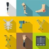 Traumatology and orthopedic icon set, flat style Royalty Free Stock Photo