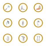 Traumatology and orthopedic icons set, cartoon style Stock Image