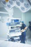 Traumatology orthopedic surgery hospital operating room. Traumatology orthopedic surgery hospital emergency operating room prepared for arthroscopy operation Royalty Free Stock Photo
