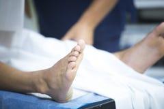 Traumatology orthopedic surgery knee arthroscopy. Traumatology orthopedic surgery hospital emergency operating room prepared for knee torn meniscus arthroscopy Royalty Free Stock Images