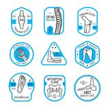 Traumatology, reumatología y etiqueta ortopédica stock de ilustración