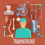 Traumatology symbol with surgeon and medical tools Royalty Free Stock Image