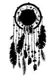 Traumfängerschattenbild in der schwarzen Farbe auf weißem Hintergrund Lizenzfreie Stockfotografie