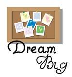 Traumgroßes Handbeschriftung mit flachem Artwunsch Brett und Fotos Lizenzfreies Stockfoto