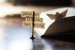 Traumgroßes, stellte Ziele, ergreifen Maßnahmen ein Lizenzfreie Stockfotografie