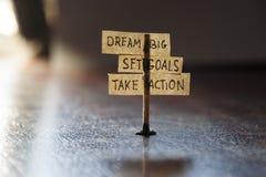 Traumgroßes, stellte Ziele, ergreifen Maßnahmen ein Lizenzfreie Stockbilder