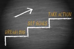Traumgroßes, stellte Ziele, ergreifen Maßnahmen ein stock abbildung