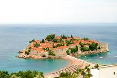 Trauminsel und Luxus-Resort Sveti Stefan, Montenegro Balkan, adriatisches Meer, Europa Stockfotografie