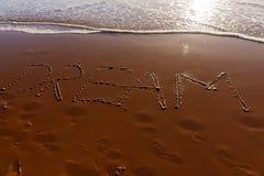 Traumwort geschrieben in den Strand Lizenzfreies Stockbild