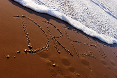 Traumwort geschrieben in den Strand Lizenzfreie Stockfotografie