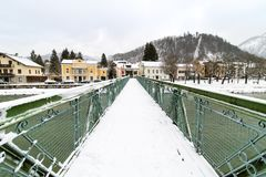 Traun River Pedestrian Bridge. Bad Ischl, Austria Royalty Free Stock Image
