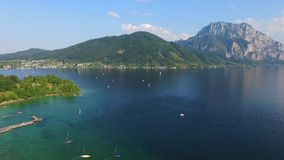 Traunsee, austria,alps. Sail, Schloss Orth is a castle situated on lake Traunsee in Gmunden Austria, alps, Salzburg stock video