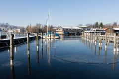 Traunsee jezioro Austria zima w Gmunden Obrazy Stock