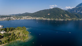 Traunsee summer lake (Austria). Aerial view Royalty Free Stock Photography