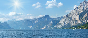 Traunsee summer lake panorama (Austria). Royalty Free Stock Images