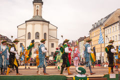 Traunstein/Germany/Bavaria, April 06th: Historical sword dance at the Georgirittes in Traunstein on the Easter Monday Stock Photo