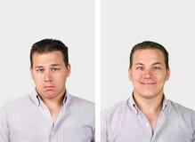 Traurig gegen glückliches stockfotografie