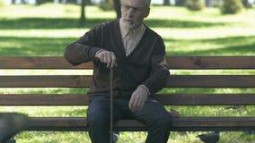 Traurige ältere männliche Zerstreuungstauben im Park, sitzende Außenseite, Einsamkeit des hohen Alters stock video
