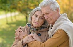 Traurige ältere Paare, die draußen umfassend stehen Stockfotografie