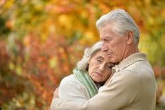 Traurige ältere Paare, die draußen umfassend stehen Lizenzfreies Stockfoto