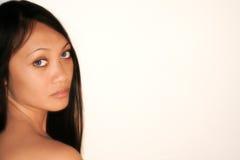 Traurige blaue Augen einer Frau Stockfoto