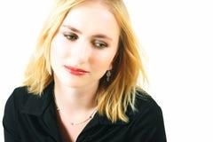 Traurige blonde Frau Lizenzfreie Stockfotografie