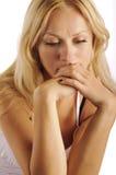 Traurige blonde Frau, getrennt Stockbilder