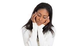 Traurige deprimierte unglückliche Frau ohne Motivation im Leben Stockbild